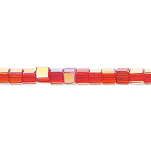 bead, glass, 18-facet, red ab, 4x4mm faceted cube. sold per 16-inch strand.