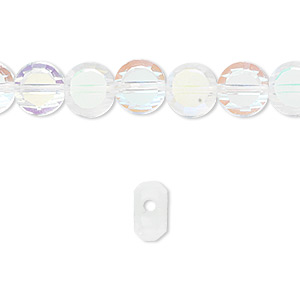 bead, glass, 26-facet, clear ab, 8mm faceted flat round. sold per 16-inch strand.