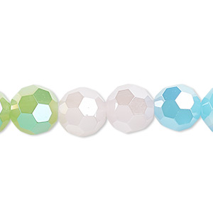 bead, glass, 32-facet, frost pink / frost turquoise blue / frost green ab2x, 10mm faceted round. sold per 16-inch strand.