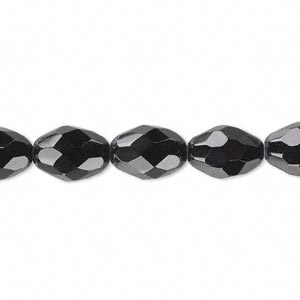 bead, glass, 34-facet, black, 11x8mm faceted oval. sold per 16-inch strand.