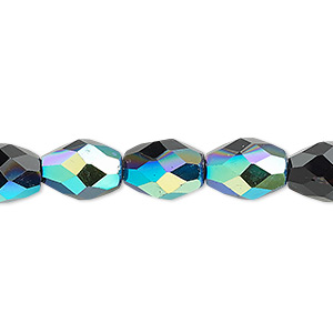 bead, glass, 34-facet, black ab, 11x8mm faceted oval. sold per 16-inch strand.