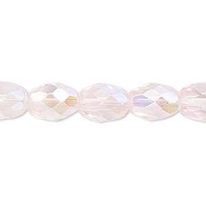bead, glass, 34-facet, pink ab, 11x8mm faceted oval. sold per 16-inch strand.