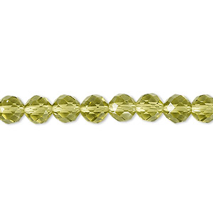 bead, glass, 48-facet, olive, 6mm faceted round. sold per 16-inch strand.
