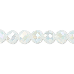 bead, glass, 48-facet, shiny frost ab2x, 8mm faceted round. sold per 16-inch strand.