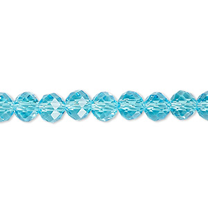 bead, glass, 48-facet, turquoise blue, 6mm faceted round. sold per 16-inch strand.