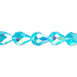 bead, glass, 56-facet, turquoise blue ab, 10x7mm faceted teardrop. sold per 16-inch strand.