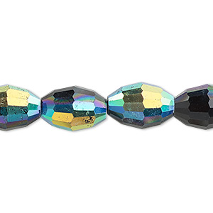 bead, glass, 66-facet, black ab, 15x10mm faceted oval. sold per 16-inch strand.