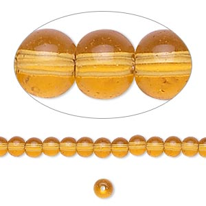 bead, glass, amber yellow, 4mm round. sold per 36-inch strand.