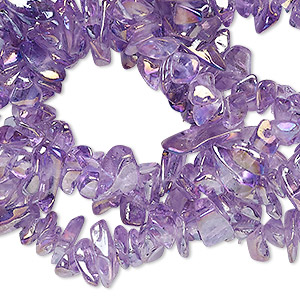 bead, glass, amethyst purple ab, small chip with 0.4-0.5mm hole. sold per 34-inch strand.