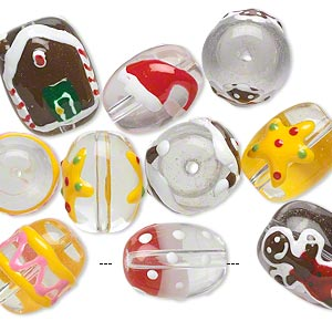 bead, glass and epoxy, clear and multicolored, 16x12mm and 18x14mm double-sided barrel with christmas-themed designs. sold per pkg of 10.