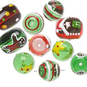 bead, glass and epoxy, green / red / multicolored, 14mm round and 18x14mm double-sided barrel with christmas-themed designs. sold per pkg of 10.