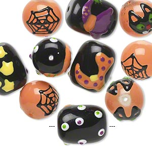 bead, glass and epoxy, multicolored, 14mm round and 18x14mm barrel with halloween-themed designs. sold per pkg of 10.