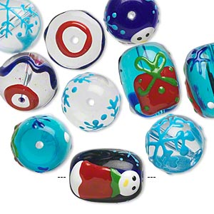 bead, glass and epoxy, multicolored, 14mm round and 18x14mm double-sided barrel with christmas-themed designs. sold per pkg of 10.