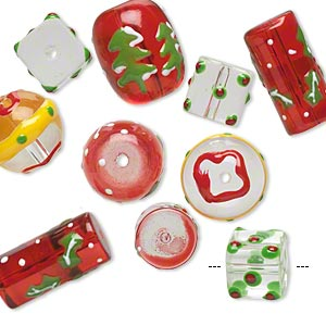 bead, glass and epoxy, red / green / multicolored, 10x10mm cube / 14mm round / 18x14mm double-sided barrel with christmas-themed designs. sold per pkg of 10.