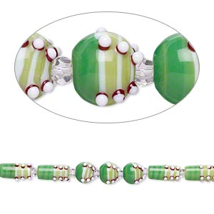 bead, glass and lampworked glass, multicolored, 6mm faceted round / 14mm bumpy round / 22x10mm bumpy round tube. sold per 7-inch strand.