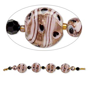 bead, glass and lampworked glass, pink and black with copper-colored glitter, 7mm faceted round/9mm round/21mm flat round. sold per 7-inch strand.