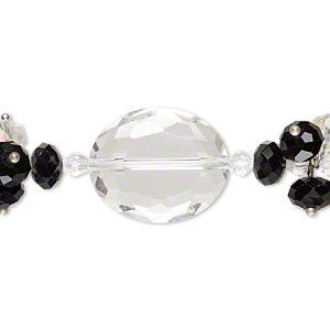 bead, glass and silver-finished brass, clear / clear ab / black, 4mm faceted bicone / 8x6mm faceted rondelle / 24x20mm faceted flat oval. sold per 8-inch strand.