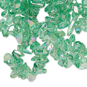 bead, glass, aqua ab, small chip with 0.4-0.5mm hole. sold per 34-inch strand.