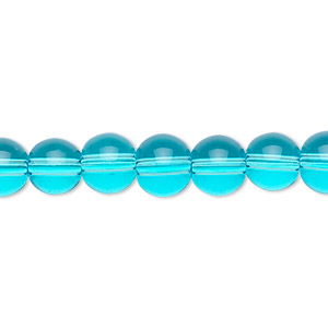 bead, glass, aqua blue, 8mm round. sold per 36-inch strand.