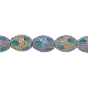 bead, glass, aqua blue with pastel stardust finish, 11x8mm  oval. sold per 16-inch strand.