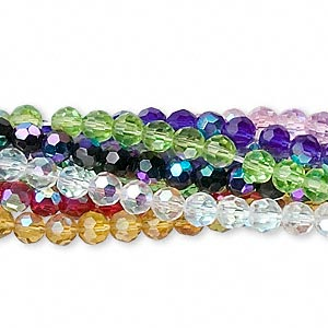 bead, glass, assorted colors ab, 4mm faceted round. sold per pkg of ten 13-inch strands.