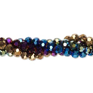 bead, glass, assorted metallic colors, 4mm faceted round. sold per pkg of (4) 8-inch strands.