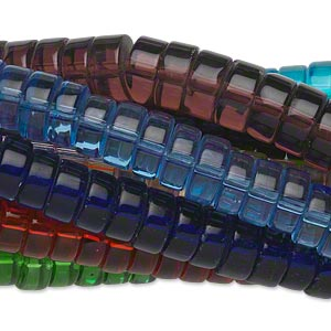 bead, glass, assorted transparent colors, 8x5mm heishi. sold per pkg of (10) 16-inch strands.