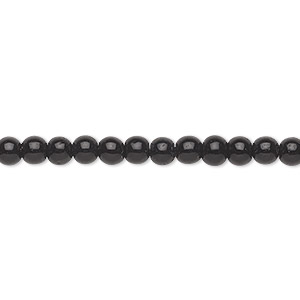 bead, glass, black, 4mm round. sold per 36-inch strand.