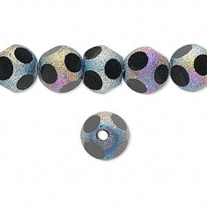 bead, glass, black with pastel stardust finish, 10mm faceted round. sold per 16-inch strand.