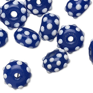 bead, glass, blue/white, 13x9mm rondelle. sold per pkg of 24.