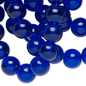 bead, glass, cobalt blue, 10mm round. sold per 36-inch strand.