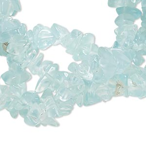 bead, glass (dyed), sky blue, medium chip. sold per 35-inch strand.