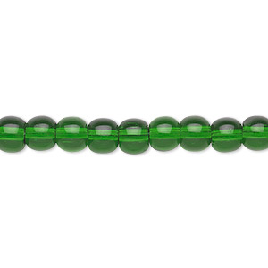 bead, glass, emerald green, 6mm round. sold per 36-inch strand.