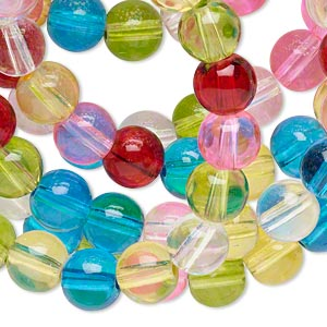 bead, glass, fruit colors, 8mm round. sold per 36-inch strand.