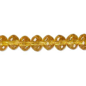 bead, glass, golden yellow, 7x6mm-8x6mm faceted rondelle. sold per 12-inch strand. minimum 2 per order.