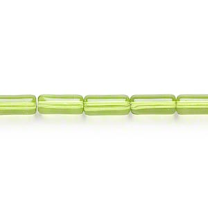 bead, glass, green, 10x4mm round tube. sold per 16-inch strand.