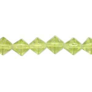 bead, glass, green, 7-8mm faceted bicone. sold per 12-inch strand. minimum 2 per order.