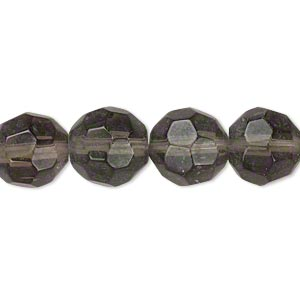 bead, glass, grey, 11-12mm faceted round. sold per 12-inch strand. minimum 2 per order.