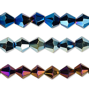 bead, glass, metallic dark blue / purple / green, 8mm bicone. sold per pkg of (3) 8-inch strands.