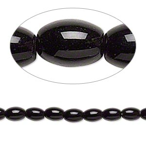 bead, glass, opaque black, 5x4mm-6x5mm oval. sold per pkg of (2) 12-inch strands.
