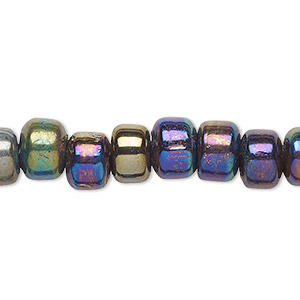 bead, glass, opaque luster oil slick, 9x7mm crow. sold per 24-inch strand.