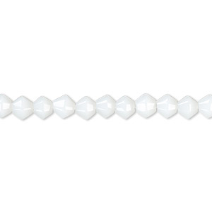bead, glass, opaque white, 3-5mm faceted bicone. sold per 12-inch strand.