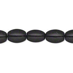bead, glass pearl, black, 11x8mm oval. sold per 15-inch strand.