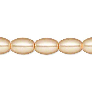 bead, glass pearl, light orange, 11x8mm oval. sold per 15-inch strand.