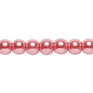 bead, glass pearl, rose, 8mm round. sold per pkg of (2) 16-inch strands.