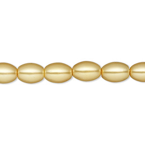 bead, glass pearl, sun yellow, 8x6mm-9x6mm oval. sold per 15-inch strand. minimum 2 per order.