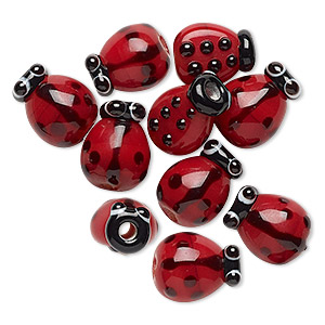 bead, glass, red, 12x9mm lady bug. sold per pkg of 10.
