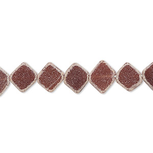 bead, glass, red-brown, 9x7mm-11x9mm hand-cut flat diamond. sold per 13-inch strand.