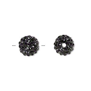 bead, glass rhinestone / epoxy / resin, black, 10mm round. sold individually.