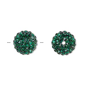 bead, glass rhinestone / epoxy / resin, dark green, 12mm round. sold individually.